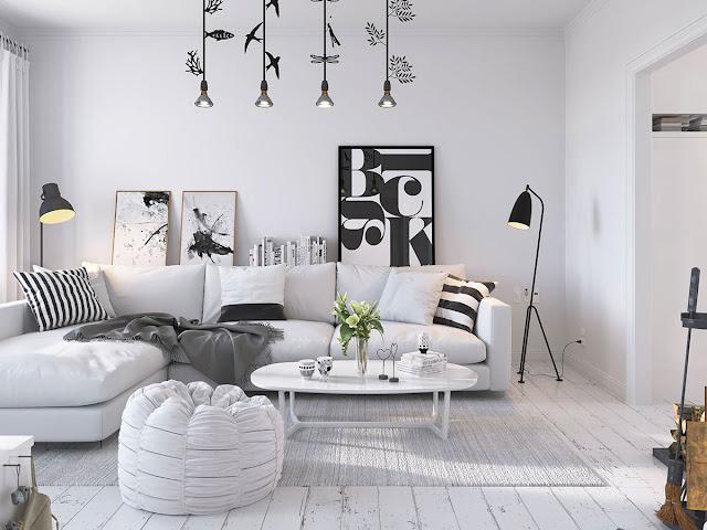 Proiect 3D de amenajare pentru un apartament in stil scandinav
