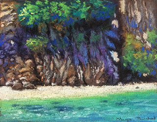 soft pastel painting of cliffs at Phi Phi Leh by Manju Panchal