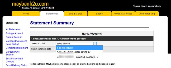 Cara Mendapatkan Penyata Kewangan Maybank Secara Online