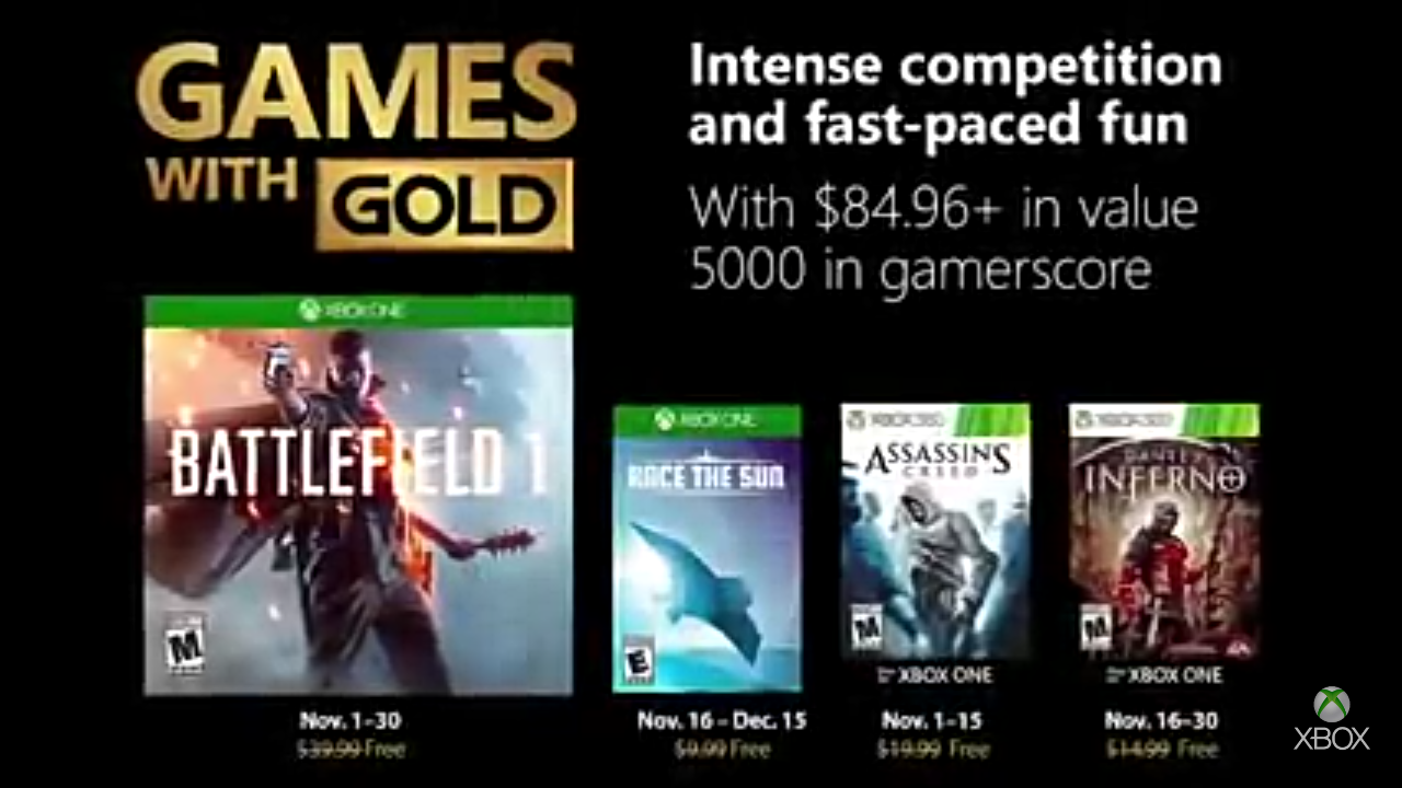 Xbox live games with gold for November 2018 released