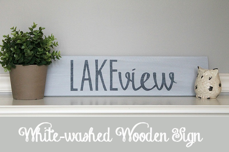 White washed wooden sign using easy text transfer technique