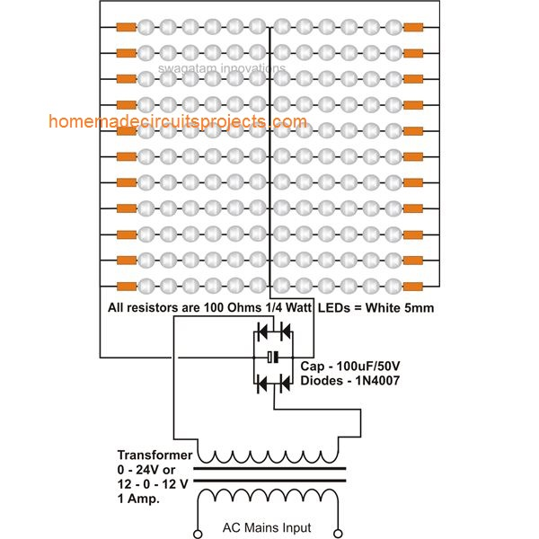 24 Volt, LED Tube Light Circuit Using Transformer, Circuit Diagram