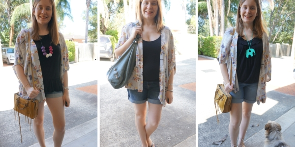 floral kimono #30wears 3 ways with black tops and denim shorts | Awayfromtheblue