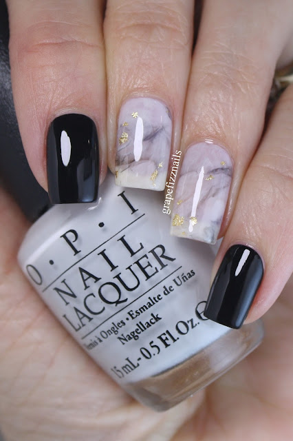 grape fizz nails black and white marble smoosh mani