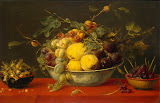 Fruit in a Bowl on a Red Cloth by Frans Snyders - Fruits Paintings from Hermitage Museum