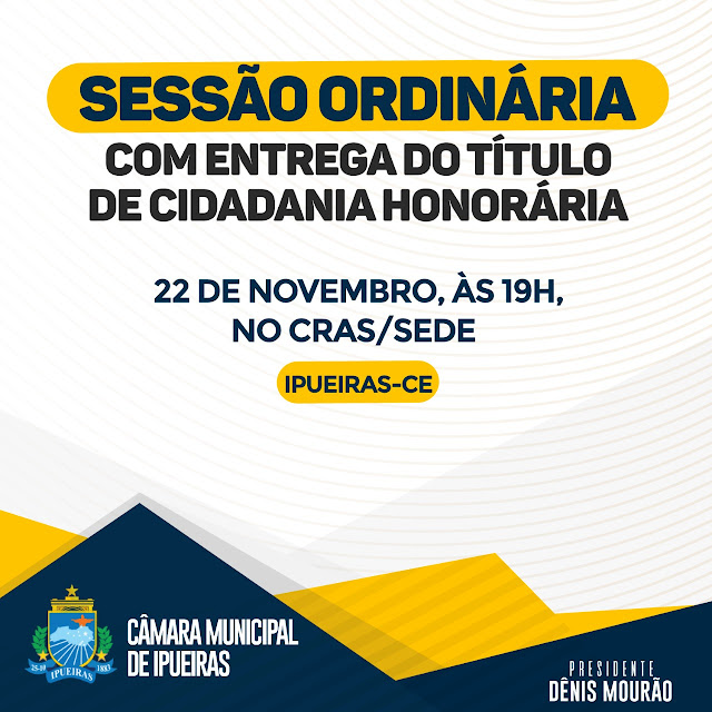 Câmara Municipal de Ipueiras concederá Títulos de Cidadania Honorária