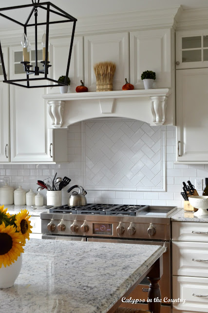White Stove Mantel with Fall Decor