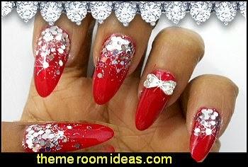rhiinestone nail art-bows nail art-nail decorations-nail design
