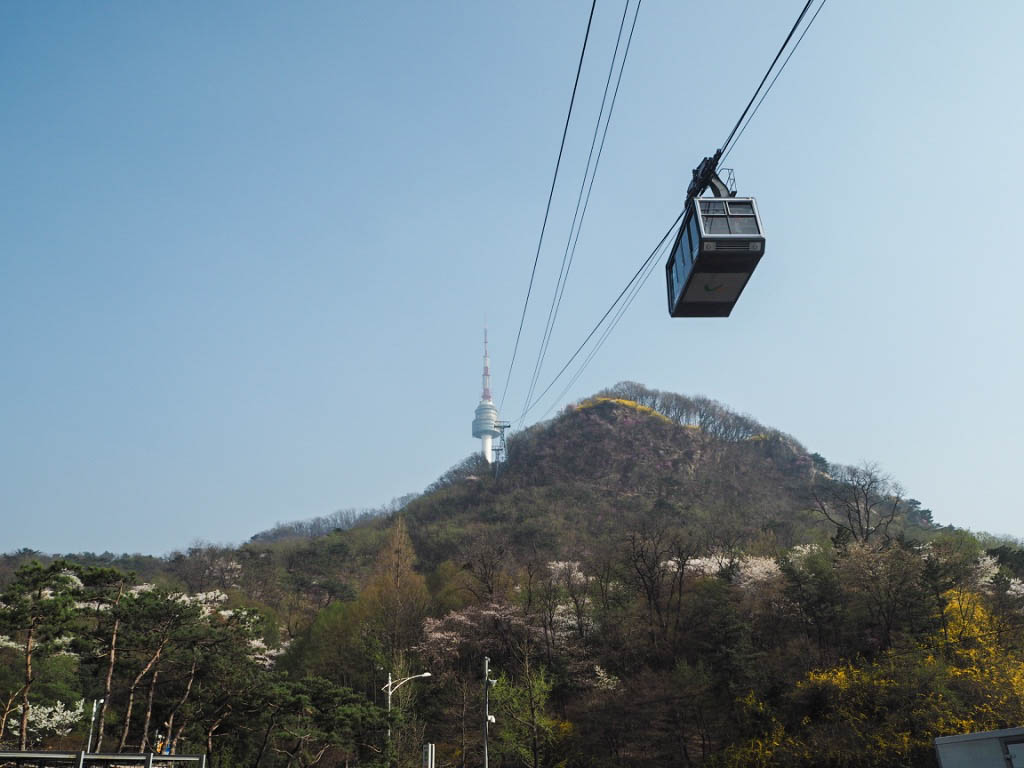Cable car up to N Seoul Tower