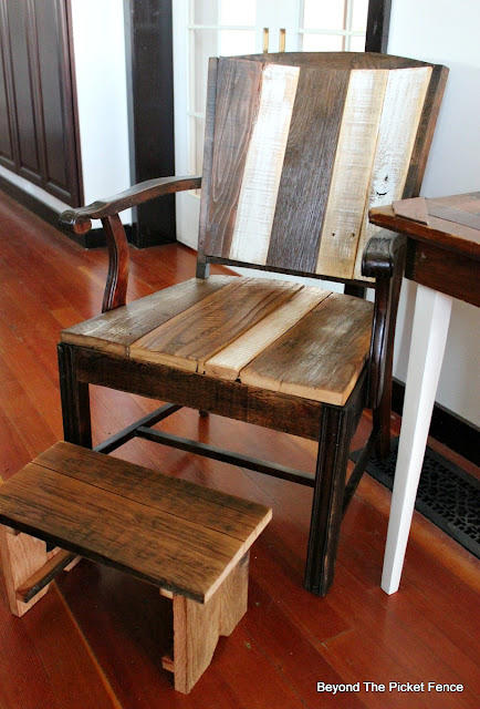 reclaimed wood gives an old chair new life