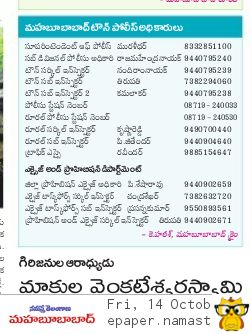 Mahabubabad District Govt Officers Mobile Phone Land Line No's