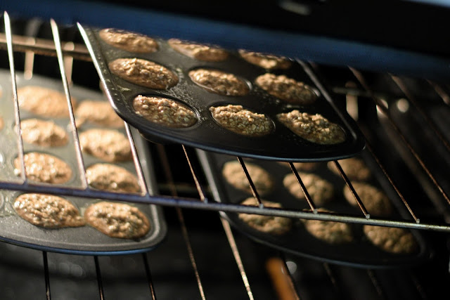 The morning oatmeal muffin bites in the oven.