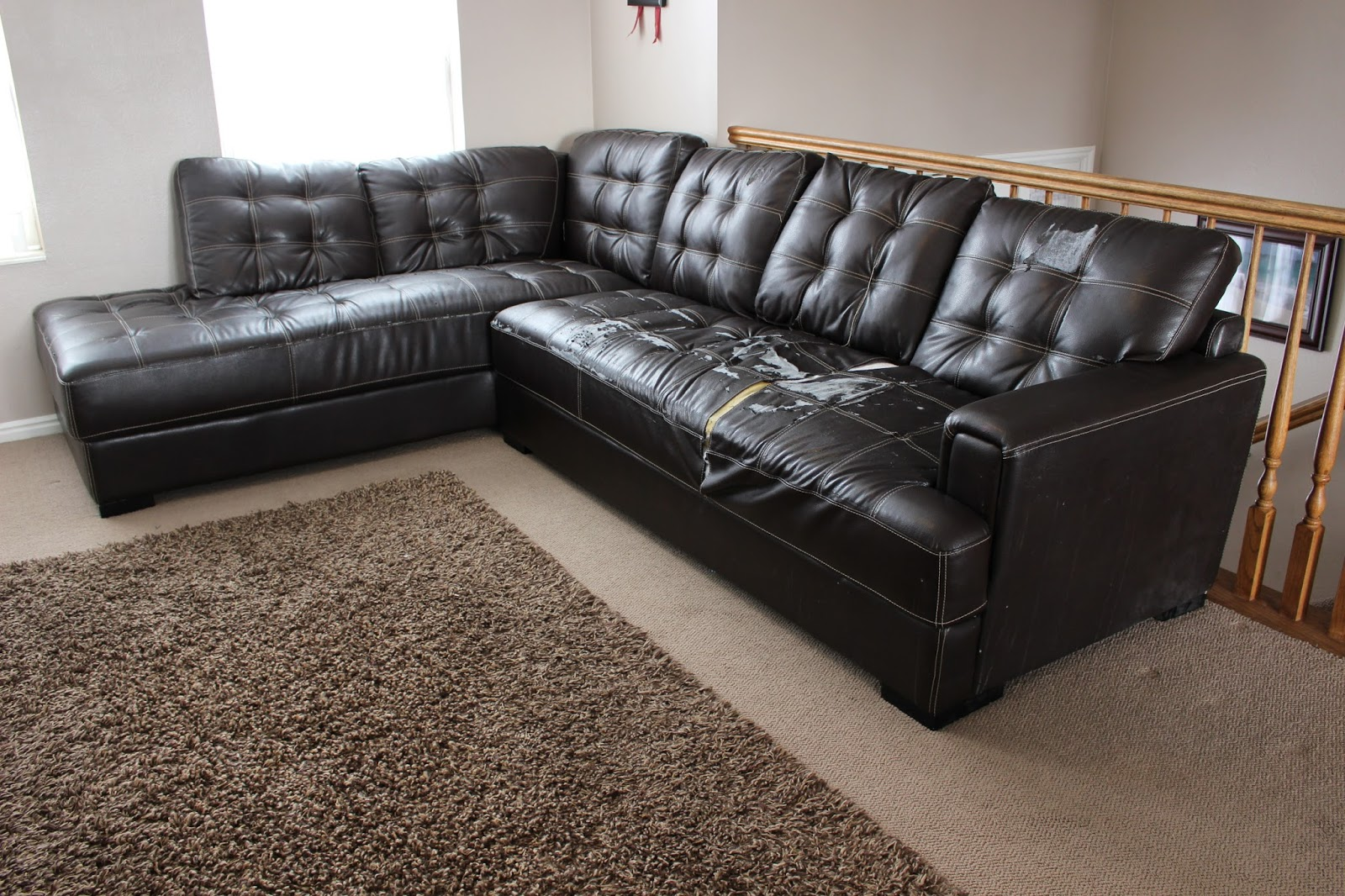 Utah county mom beginner 39 s guide to reupholstering a sectional sofa Reupholster loveseat