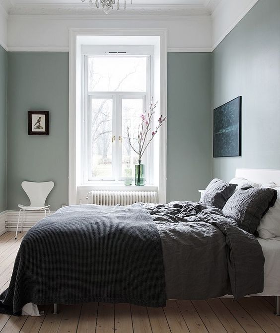 the green grey hues are ideal for a bedroom as they provide a serene