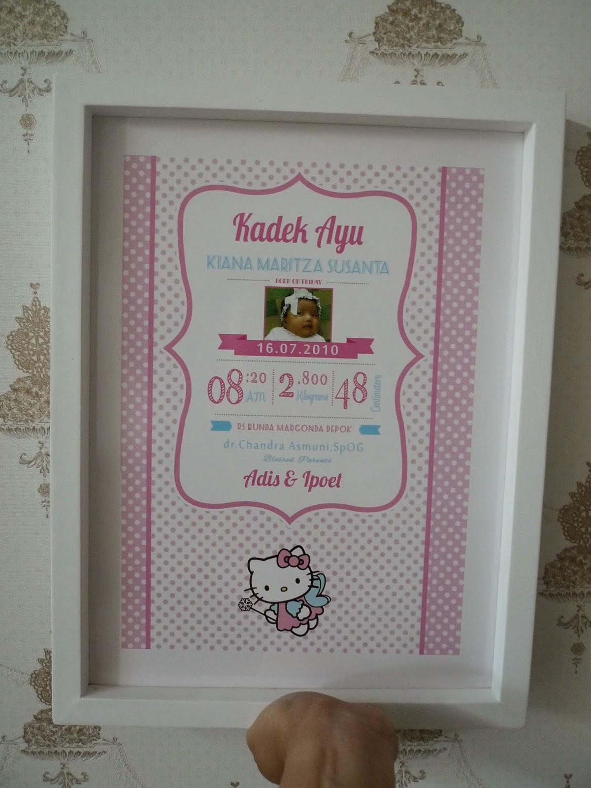 Biodata Anak Ukuran 30x40 Tema Hello Kitty Jual Hiasan Dinding