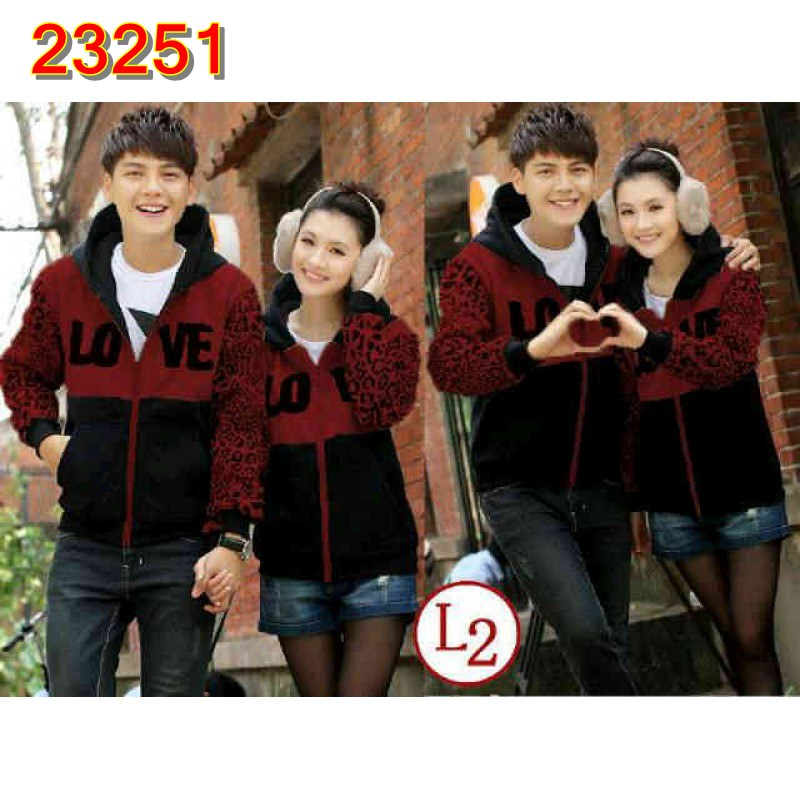 Jual Jacket Couple Jacket Leophard Maroon - 23251