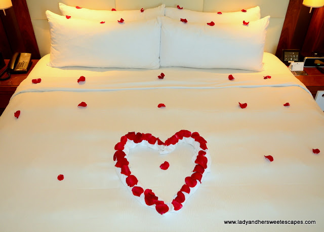 romantic set up in hotel room