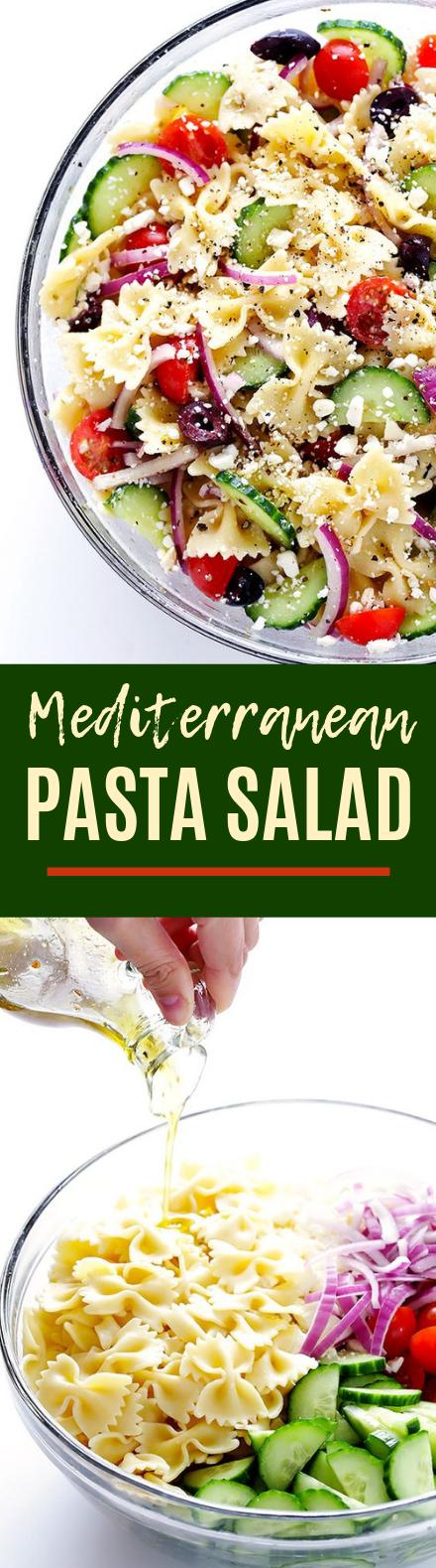 Mediterranean Pasta Salad #healthy #sidedish