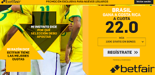 betfair supercuota victoria de Brasil a Costa Rica 21 junio