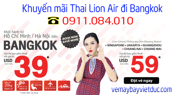 bán vé khuyến mãi Thai Lion Air đi Bangkok giá từ 39 usd
