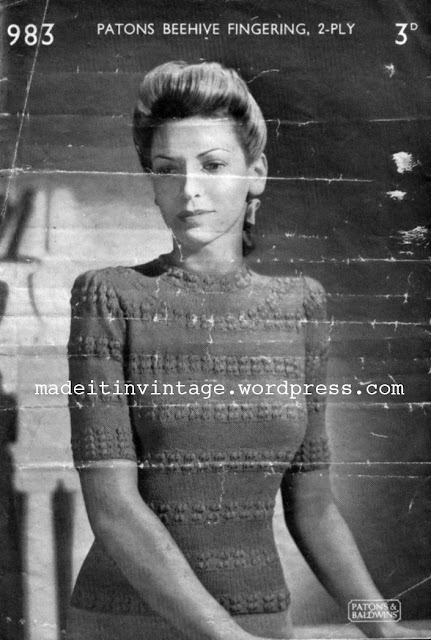 Free 1940's Knitting Pattern - Patons Beehive Fingering 2 ply Blouse