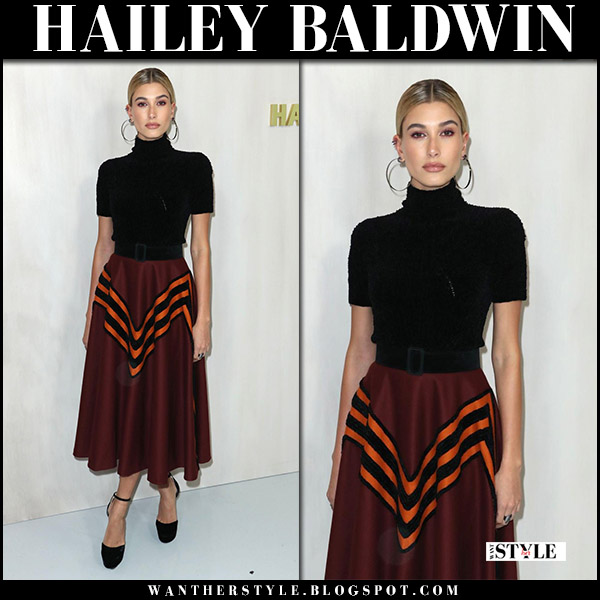 Hailey Baldwin in black high neck top and burgundy midi skirt bottega veneta at Hammer Museum's Gala october 14 2017 red carpet