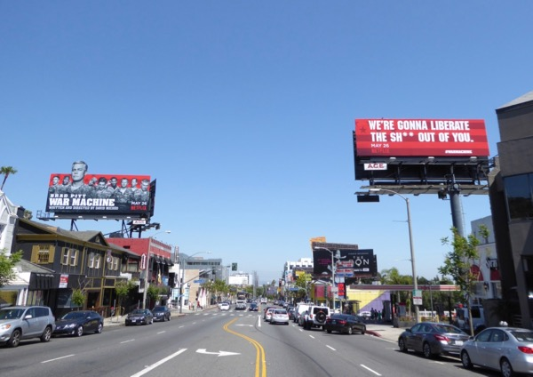 War Machine Netflix film billboards Sunset Strip