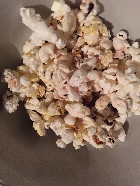 popcorn made with no oil in microwave, seasoned with cinnamon  & sugar