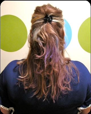 beauty hair chalking neon rattail