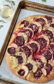 vegetarian apple cheddar and beet pizza