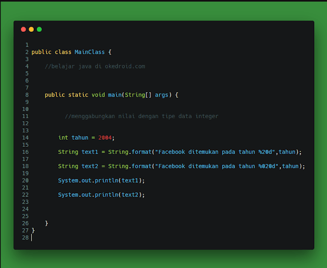 Contoh Code menggabungkan menggunakan nilai tipe data integer menentukan jumlah angka bilangan method format() di program java
