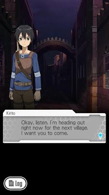 Pierwszy screen z gry Sword Art Online: Memory Defrag - Rozmowa Kirito z Kleinem na początku gry