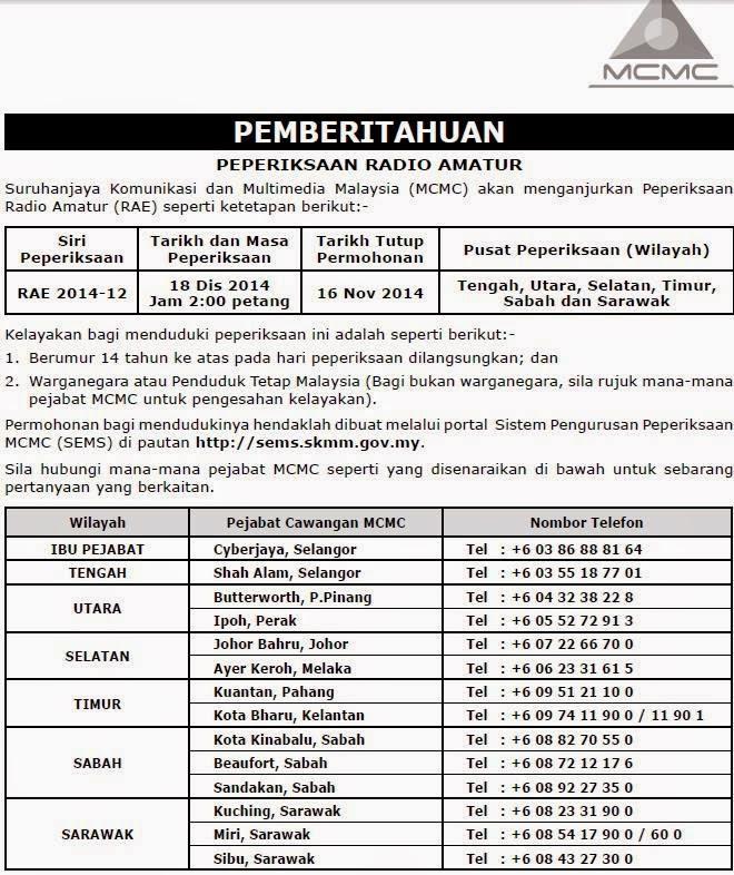 MALAYSIAN AMATEUR RADIO LEAGUE: Radio Amateur Examination (RAE)