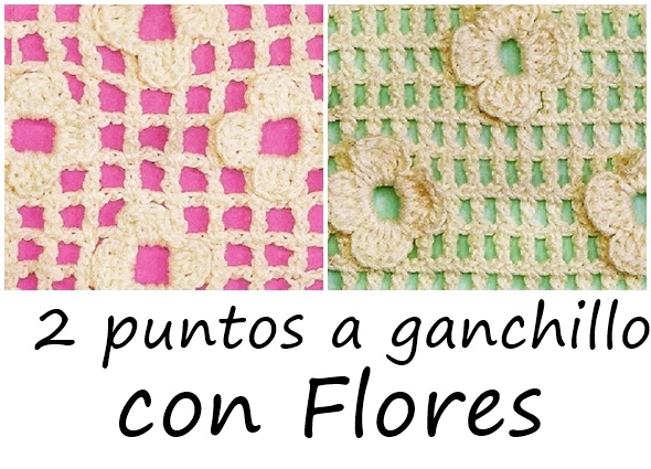 Hoy vamos a ver dos formas de hacer flores en el mismo tejido, 2 clases de puntos a ganchillo con flores entretejidas.