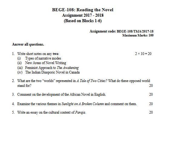 BEGE-108 Reading the Novel Solved Assignment 2018