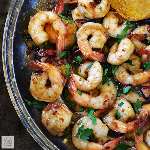 Spanish Garlic Shrimp, (Gambas al Ajillo) | by Life Tastes Good is a popular Spanish tapas because it is insanely delicious and an easy recipe to make too! Great for a party appetizer, snack, or light meal! #LTGrecipes #SundaySupper