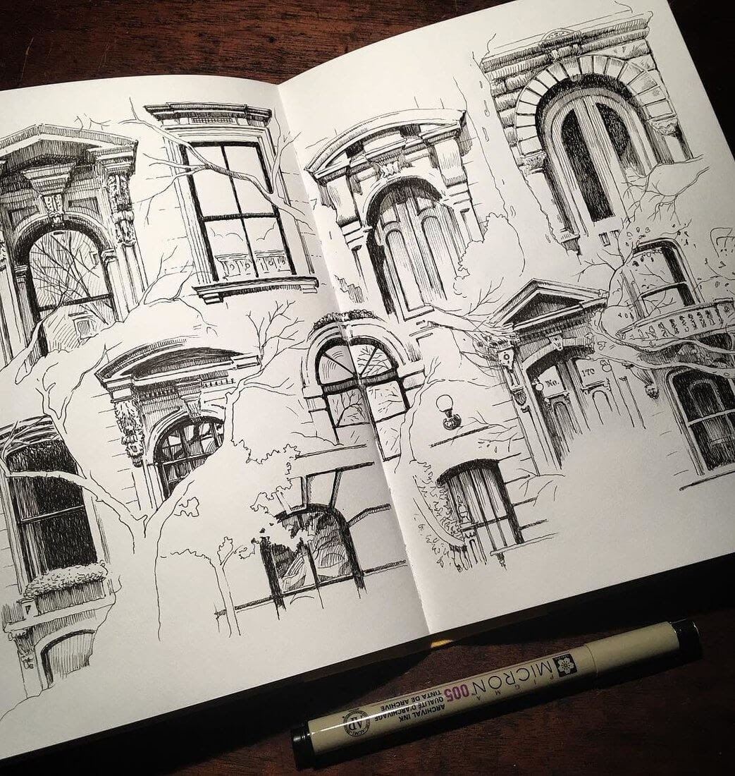 03-Brooklyn-Brownstones-Mark-Poulier-Urban-Sketches-Drawn-on-Site-www-designstack-co