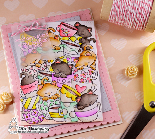 Cat and Coffee Card by Ellen Haxelmans | Caffeinated Cats Stamp Set and Frames & Flags Die Set by Newton's Nook Designs #newtonsnook #handmade
