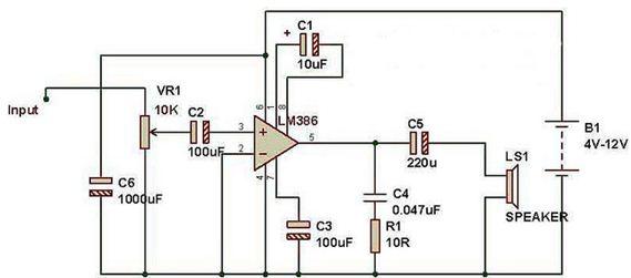 RANGKAIAN AUDIO AMPLIFIER MENGGUNAKAN IC LM386 - Syarif Projects