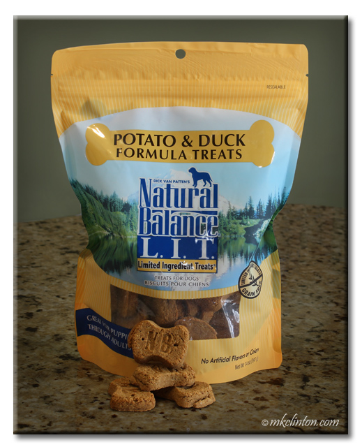 Bag of Natural Balance L.I.T. Potato & Duck treats.