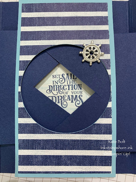 A gate fold shutter card using teh Sail Away Suite from Stampin Up