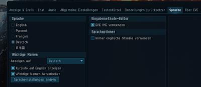Hier die Einstellungen vom Spiel mit dem aktvierten Reiter Sprache. Alles was geht, ist auf deutsch eingestellt.