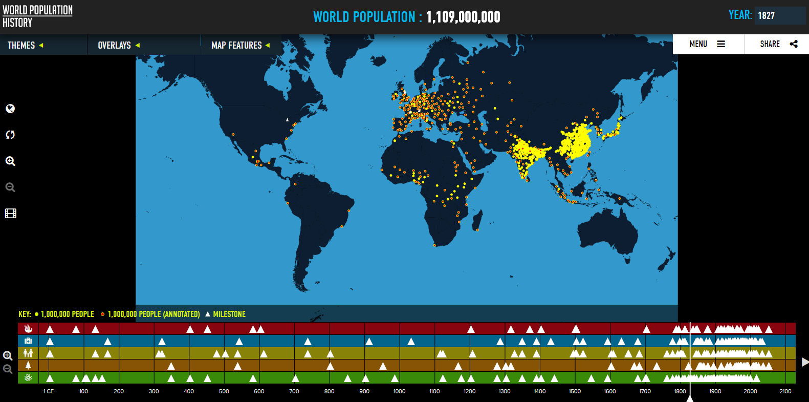 Free technology for teachers world population history an the combination of the map with the timeline can help students see the correlation between scientific advancements and changes in population growth gumiabroncs Image collections