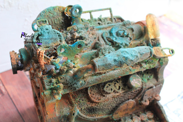Mixed media rusty typewriter by Phoebe Tonosaki