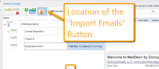 Screen image shows the location of the Import Emails button.