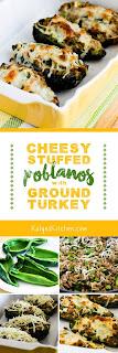 Cheesy Stuffed Poblanos with Ground Turkey found on KalynsKitchen.com