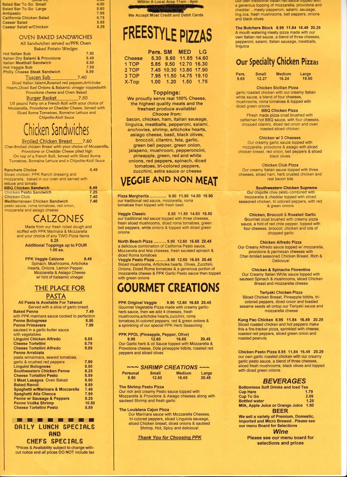 California Pizza Kitchen Santa Barbara Menu