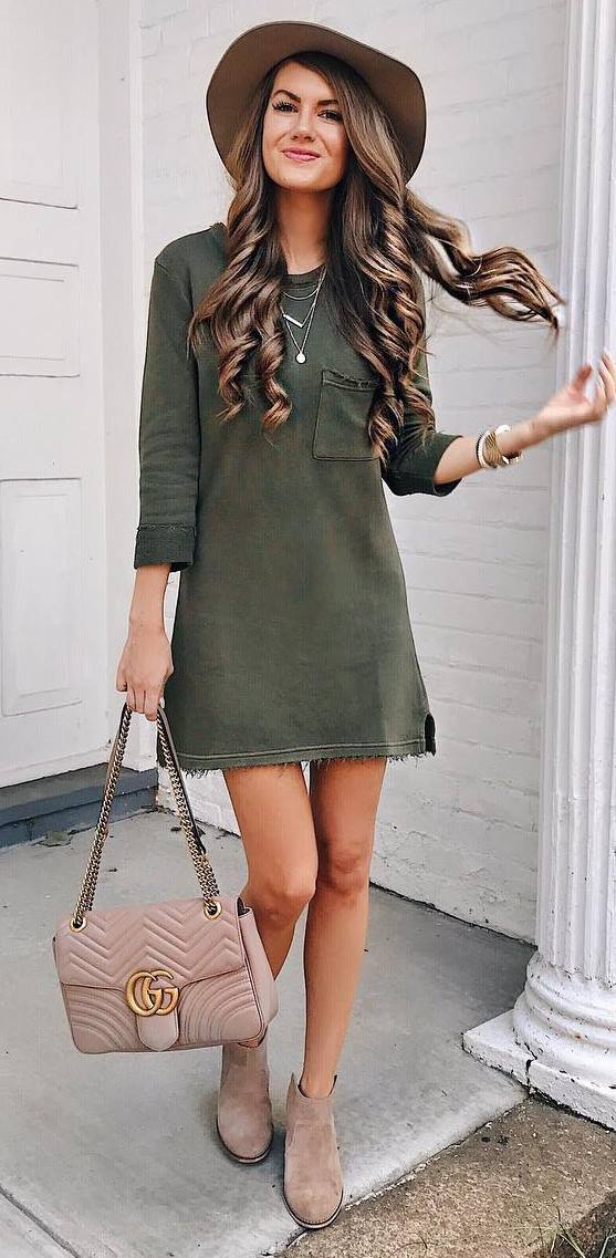ootd / hat + dress + bag + boots