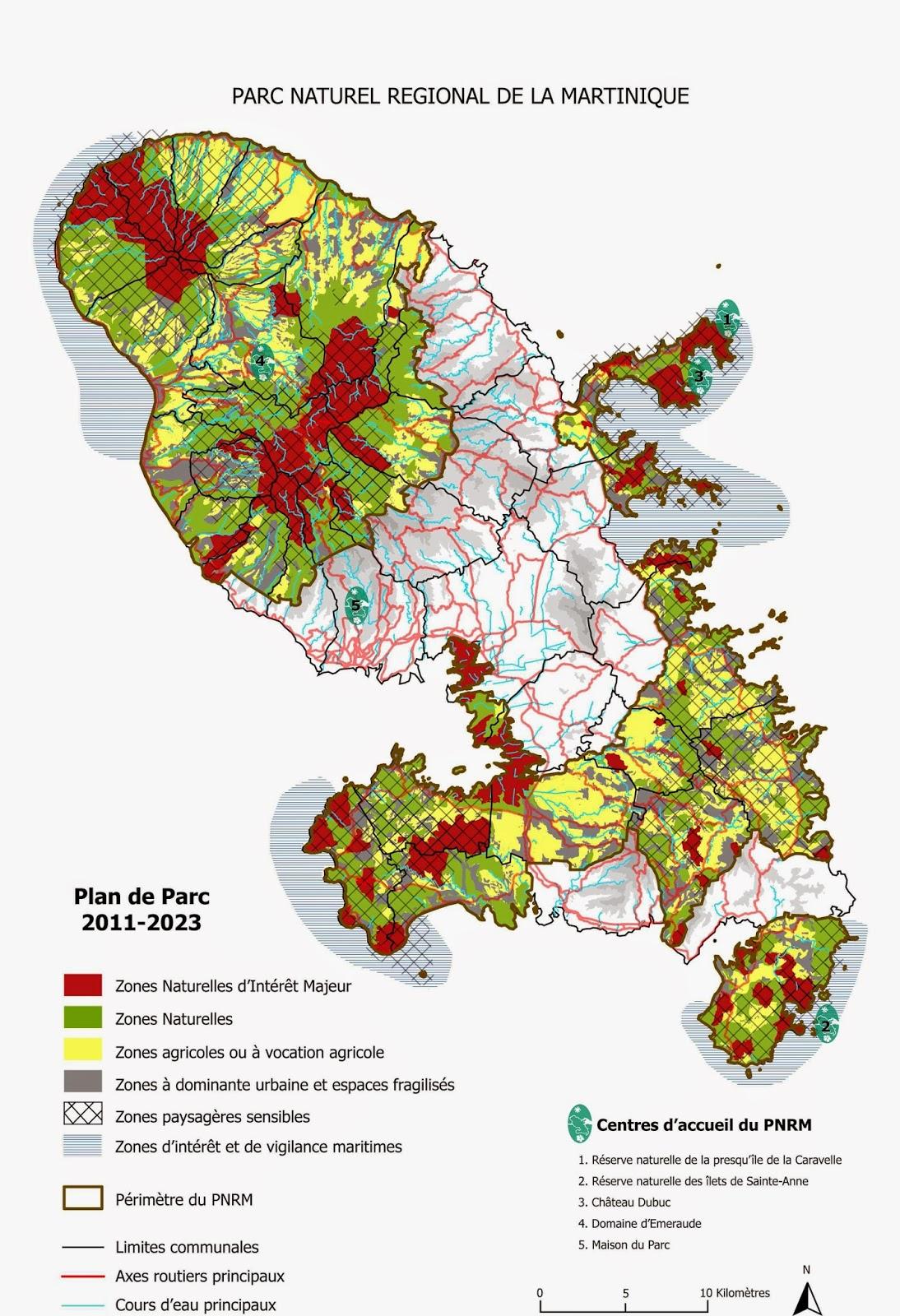 Carte du Parc Naturel Régional de la Martinique