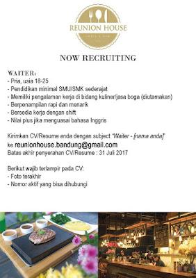 Lowongan Kerja Bandung 2017 - Waiter Reunion House
